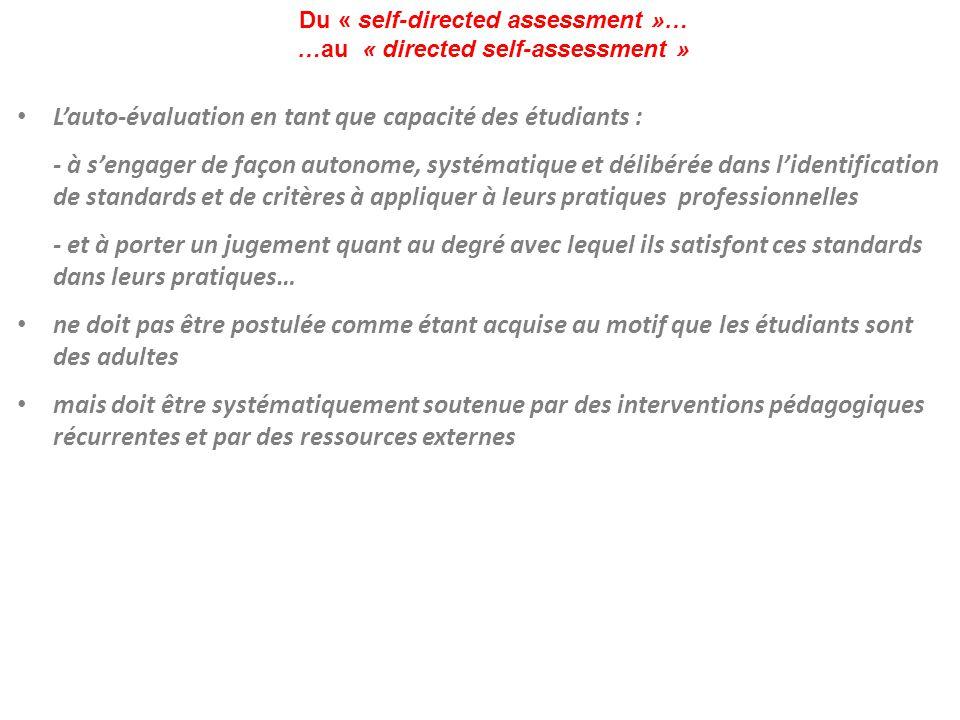 Du « self-directed assessment »… …au « directed self-assessment » L'auto-évaluation en tant que capacité des étudiants : - à s'engager de façon autono