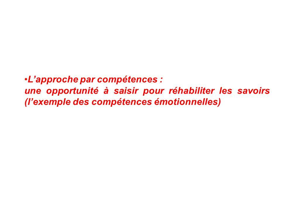 L'approche par compétences : une opportunité à saisir pour réhabiliter les savoirs (l'exemple des compétences émotionnelles)