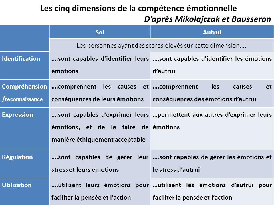 SoiAutrui Les personnes ayant des scores élevés sur cette dimension…. Identification ….sont capables d'identifier leurs émotions ….sont capables d'ide