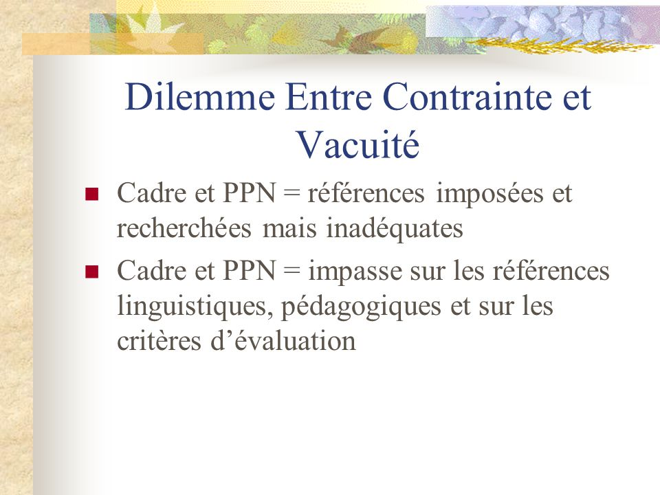 Dilemme Entre Contrainte et Vacuité Cadre et PPN = références imposées et recherchées mais inadéquates Cadre et PPN = impasse sur les références lingu