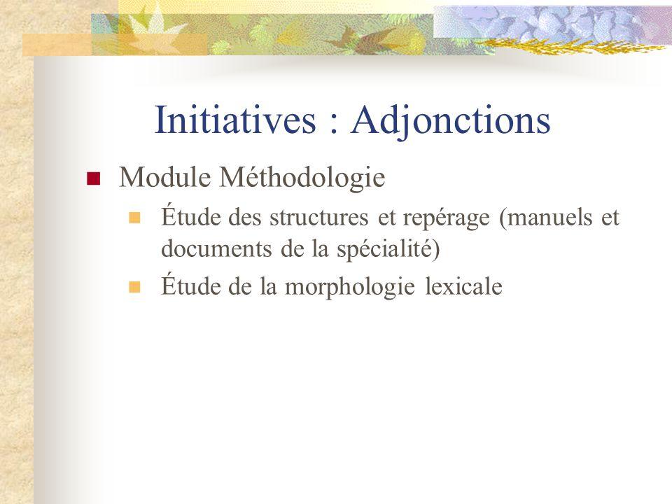 Initiatives : Adjonctions Module Méthodologie Étude des structures et repérage (manuels et documents de la spécialité) Étude de la morphologie lexical
