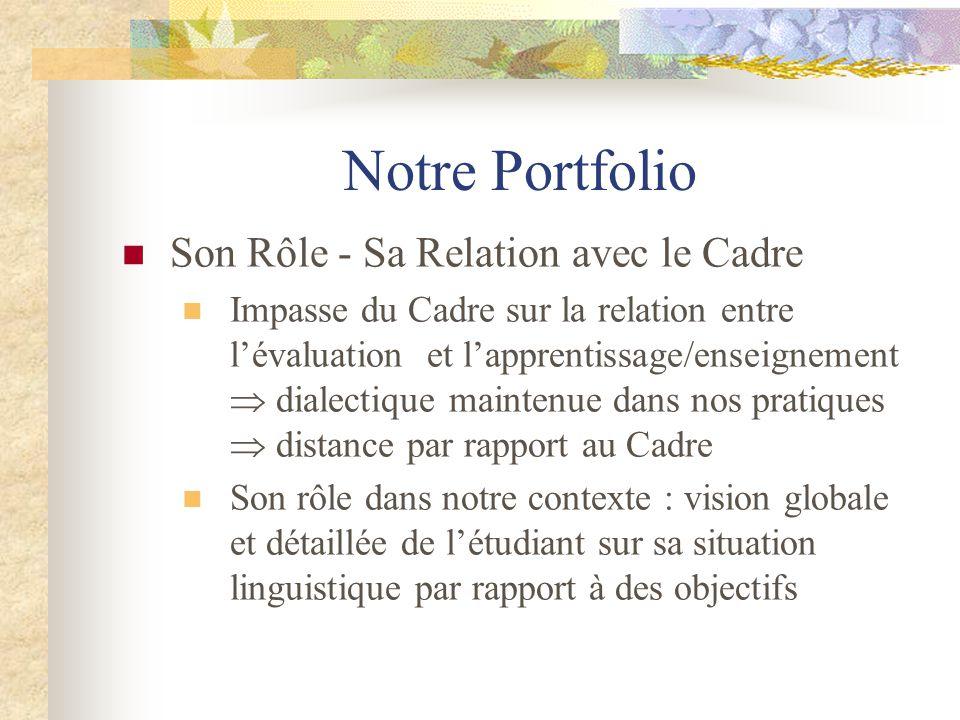 Notre Portfolio Son Rôle - Sa Relation avec le Cadre Impasse du Cadre sur la relation entre l'évaluation et l'apprentissage/enseignement  dialectique