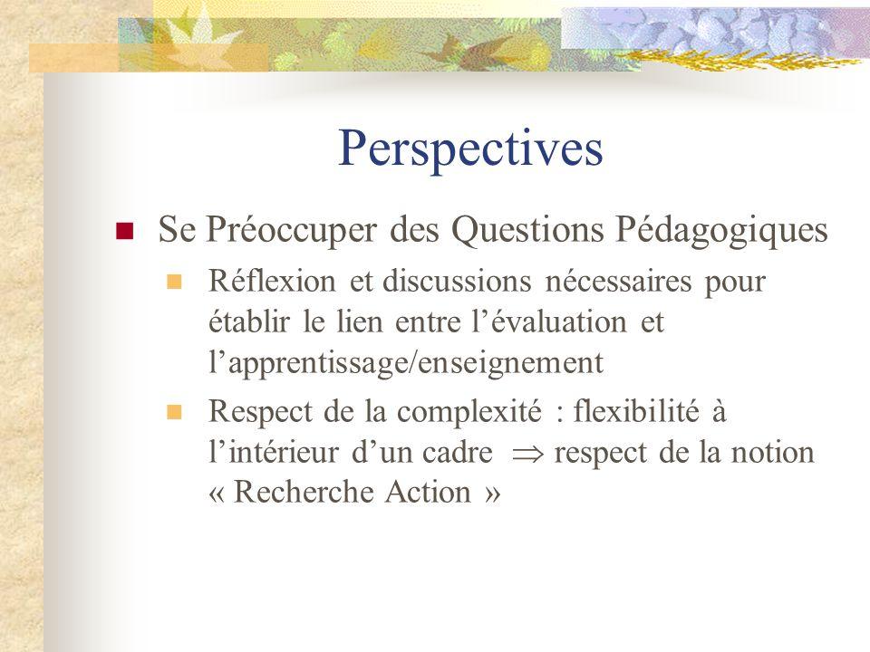 Perspectives Se Préoccuper des Questions Pédagogiques Réflexion et discussions nécessaires pour établir le lien entre l'évaluation et l'apprentissage/