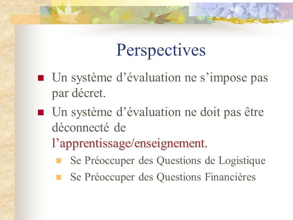 Perspectives Un système d'évaluation ne s'impose pas par décret. l'apprentissage/enseignement. Un système d'évaluation ne doit pas être déconnecté de