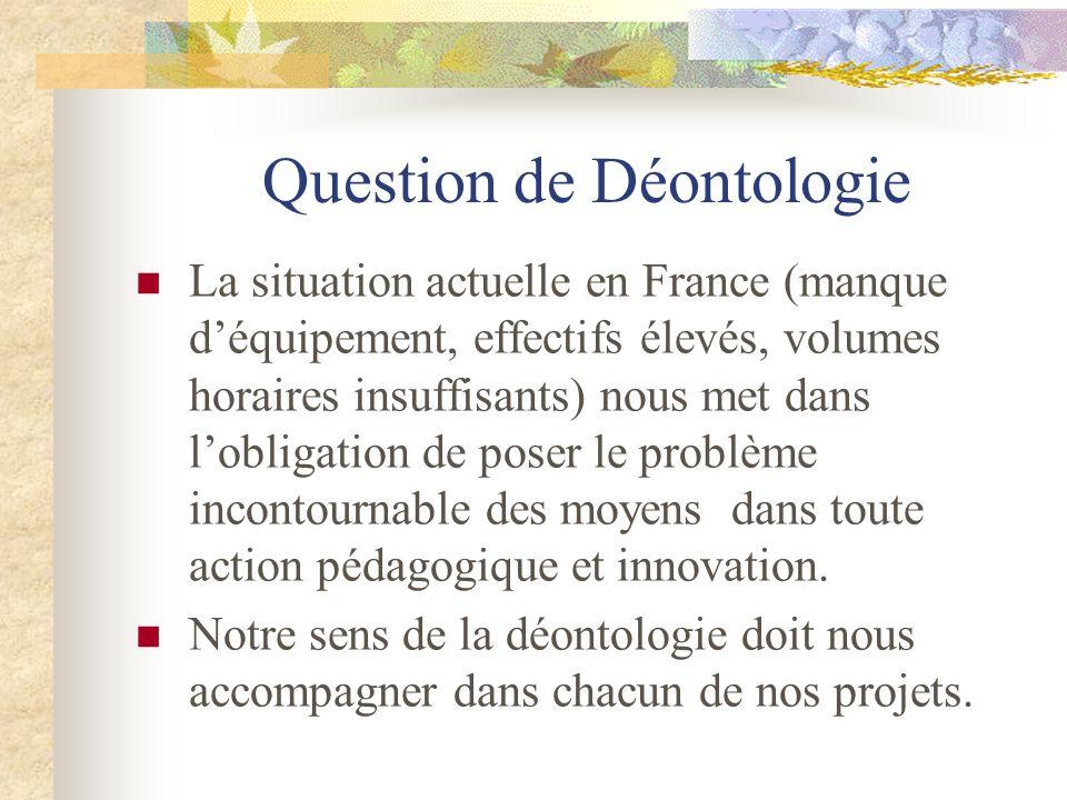 Question de Déontologie La situation actuelle en France (manque d'équipement, effectifs élevés, volumes horaires insuffisants) nous met dans l'obligat
