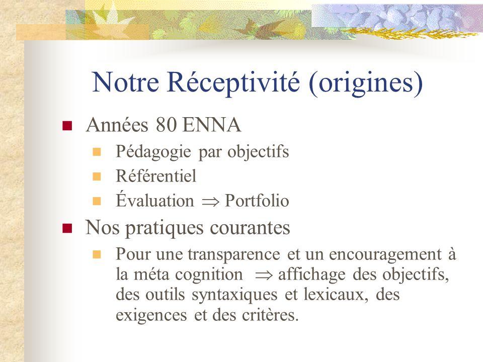 Notre Réceptivité (origines) Années 80 ENNA Pédagogie par objectifs Référentiel Évaluation  Portfolio Nos pratiques courantes Pour une transparence e