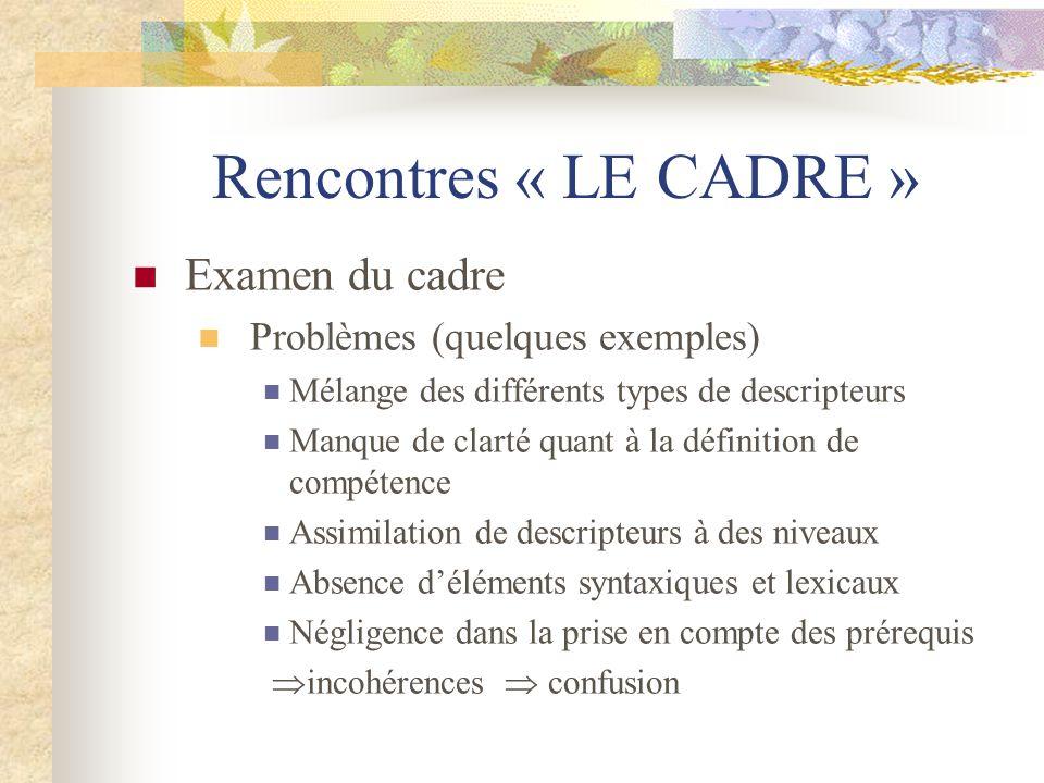Rencontres « LE CADRE » Examen du cadre Problèmes (quelques exemples) Mélange des différents types de descripteurs Manque de clarté quant à la définit