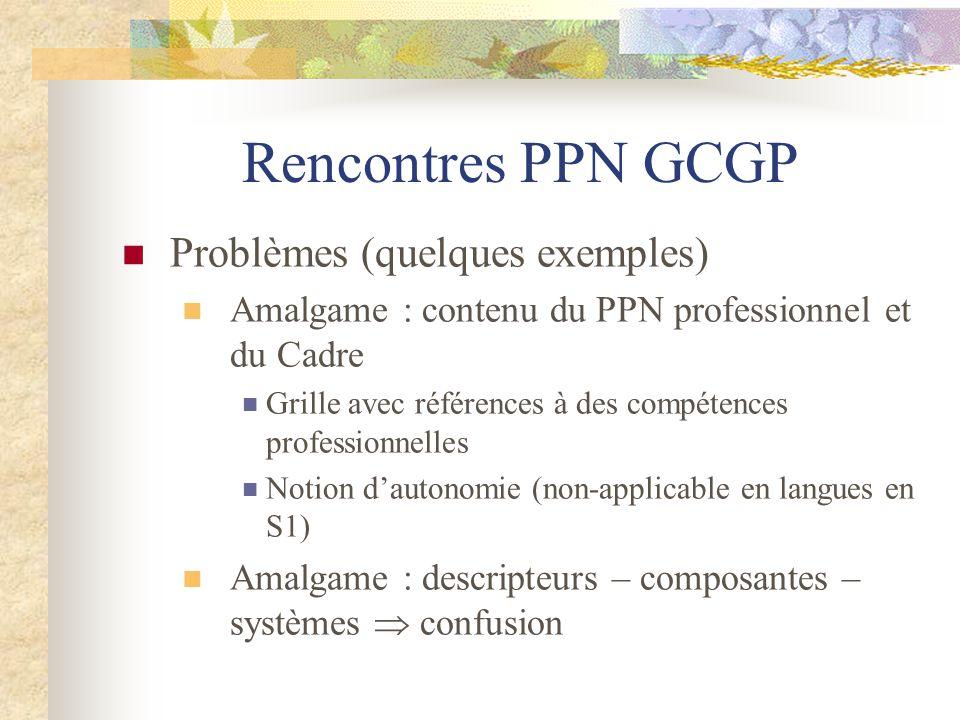 Rencontres PPN GCGP Problèmes (quelques exemples) Amalgame : contenu du PPN professionnel et du Cadre Grille avec références à des compétences profess