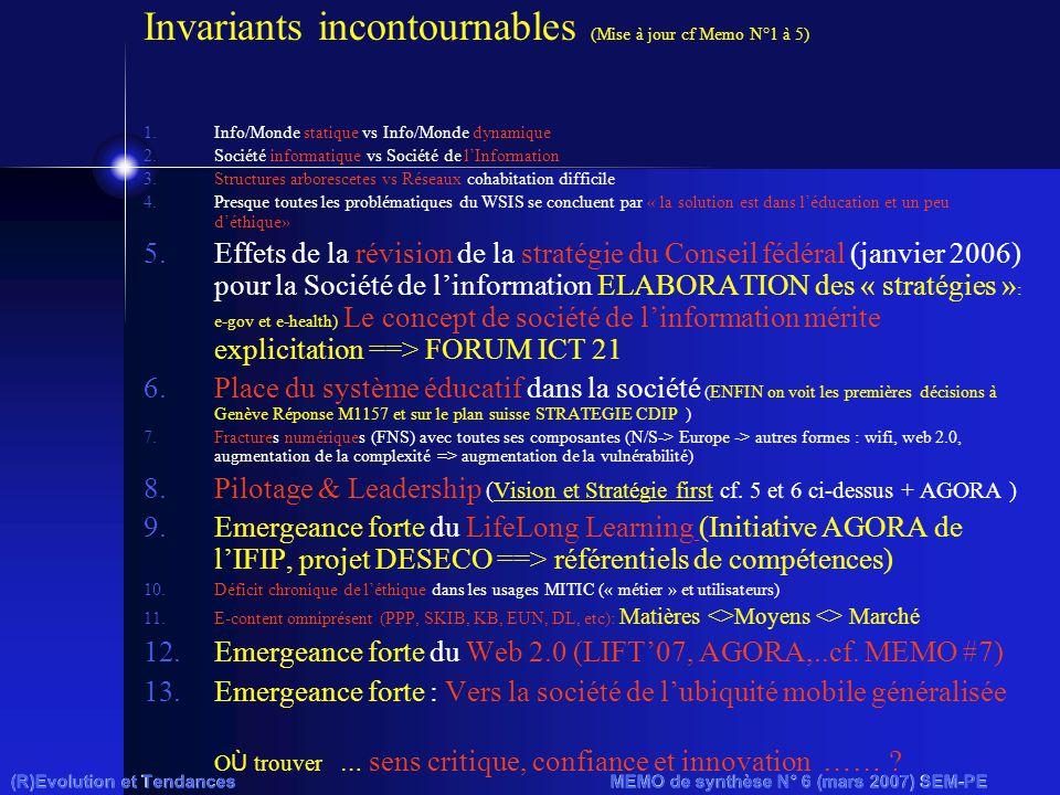 (R)Evolution et Tendances MEMO de synthèse N° 6 (mars 2007) SEM-PE Invariants incontournables (Mise à jour cf Memo N°1 à 5) 1.Info/Monde statique vs I