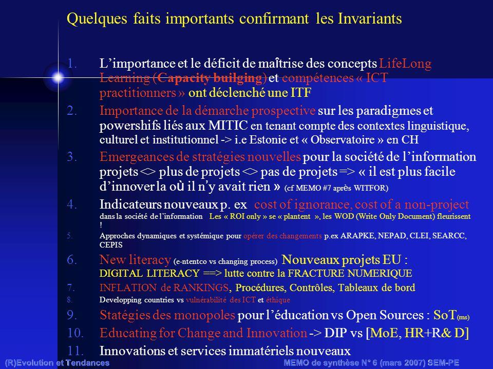 (R)Evolution et Tendances MEMO de synthèse N° 6 (mars 2007) SEM-PE Quelques faits importants confirmant les Invariants 1.L'importance et le déficit de ma î trise des concepts LifeLong Learning (Capacity builging) et compétences « ICT practitionners » ont déclenché une ITF 2.Importance de la démarche prospective sur les paradigmes et powershifs liés aux MITIC en tenant compte des contextes linguistique, culturel et institutionnel -> i.e Estonie et « Observatoire » en CH 3.Emergeances de stratégies nouvelles pour la société de l'information projets <> plus de projets <> pas de projets => « il est plus facile d'innover la o ù il n ' y avait rien » (cf MEMO #7 apr è s WITFOR) 4.Indicateurs nouveaux p.