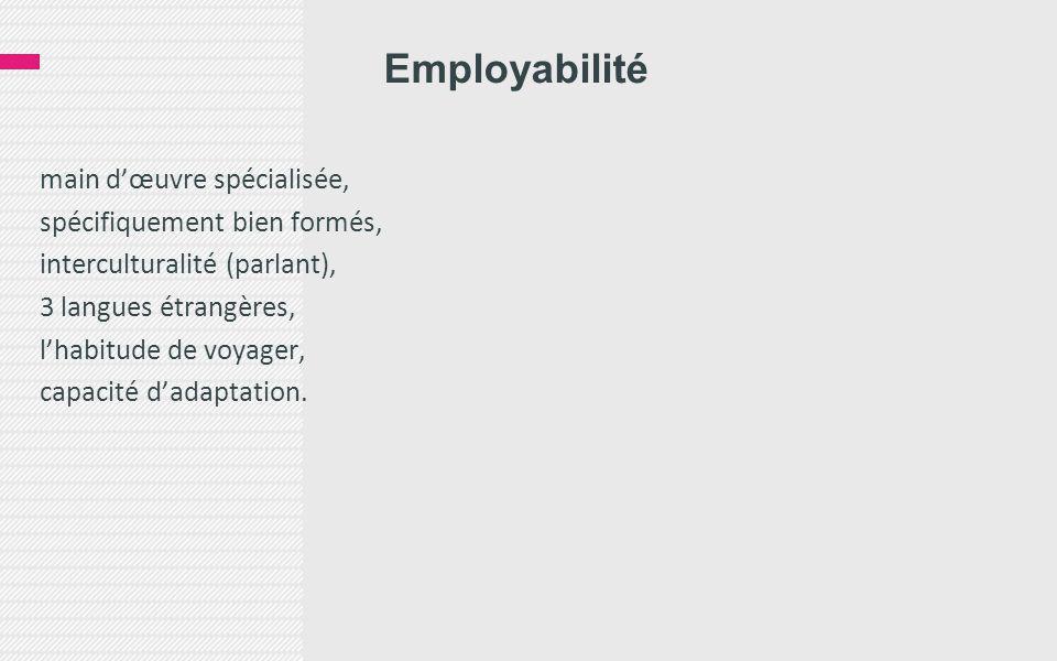Employabilité main d'œuvre spécialisée, spécifiquement bien formés, interculturalité (parlant), 3 langues étrangères, l'habitude de voyager, capacité d'adaptation.