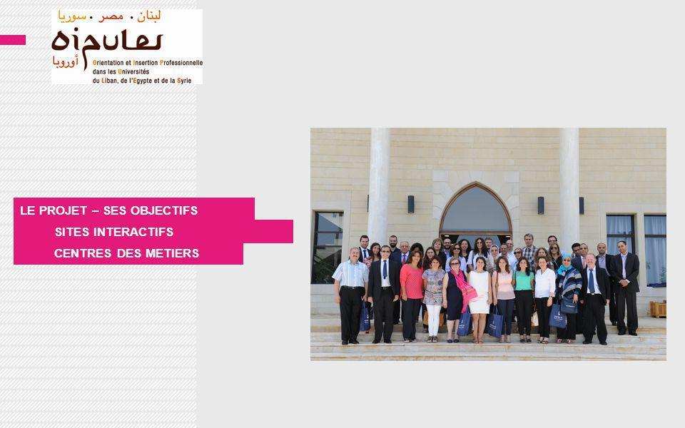 PROJET TYPE : Projet Commun TITRE : Orientation et insertion professionnelle dans les Universités du Liban, de l Égypte et de la Syrie DÉBUT DU PROJET : Novembre 2011 DURÉE PRÉVUE : 36 mois COORDINATEUR : Université de Poitiers BUDGET avec cofinancement : 1 341 300 (1 205 700 euros + 135 600 euros)