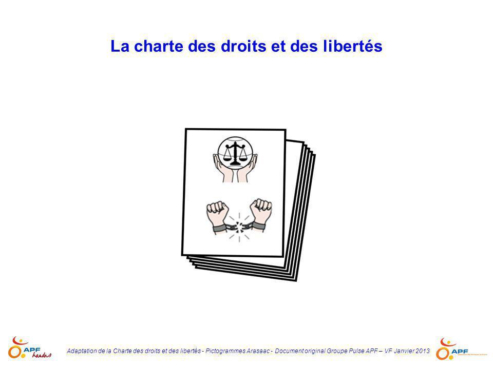 Adaptation de la Charte des droits et des libertés - Pictogrammes Arasaac - Document original Groupe Pulse APF – VF Janvier 2013 La charte des droits