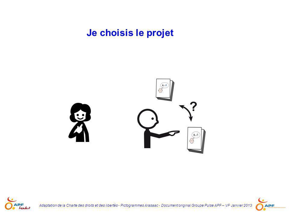 Adaptation de la Charte des droits et des libertés - Pictogrammes Arasaac - Document original Groupe Pulse APF – VF Janvier 2013 Je choisis le projet