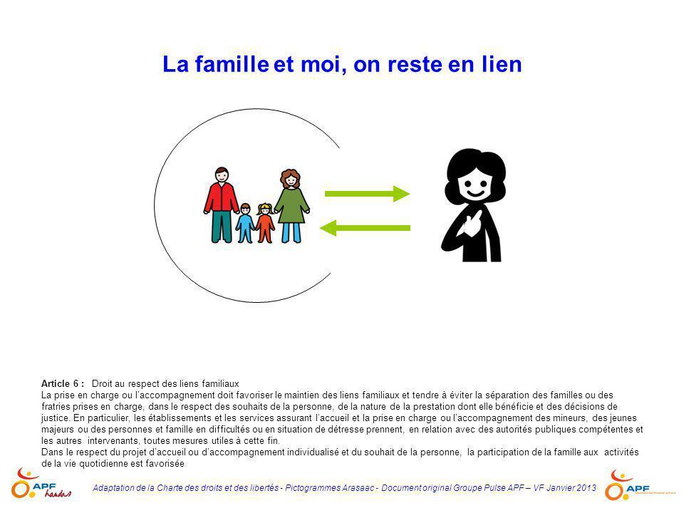 Adaptation de la Charte des droits et des libertés - Pictogrammes Arasaac - Document original Groupe Pulse APF – VF Janvier 2013 La famille et moi, on