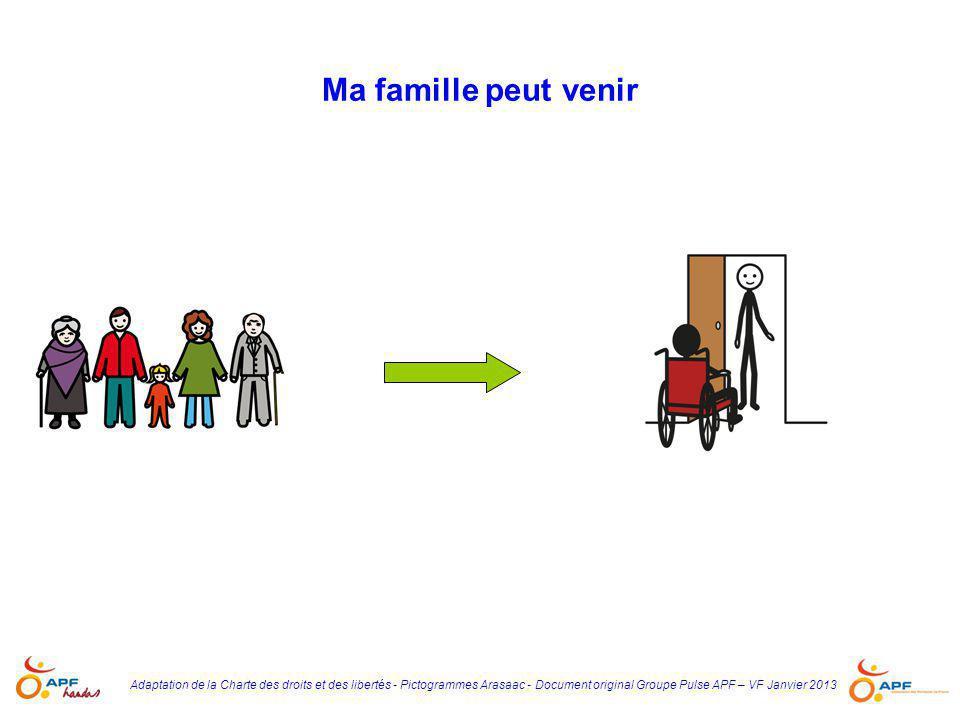 Adaptation de la Charte des droits et des libertés - Pictogrammes Arasaac - Document original Groupe Pulse APF – VF Janvier 2013 Ma famille peut venir