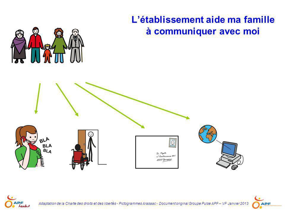 Adaptation de la Charte des droits et des libertés - Pictogrammes Arasaac - Document original Groupe Pulse APF – VF Janvier 2013 L'établissement aide
