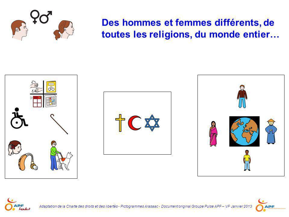 Adaptation de la Charte des droits et des libertés - Pictogrammes Arasaac - Document original Groupe Pulse APF – VF Janvier 2013 Des hommes et femmes