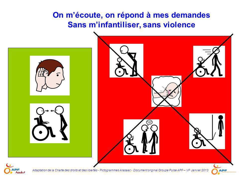 Adaptation de la Charte des droits et des libertés - Pictogrammes Arasaac - Document original Groupe Pulse APF – VF Janvier 2013 On m'écoute, on répon