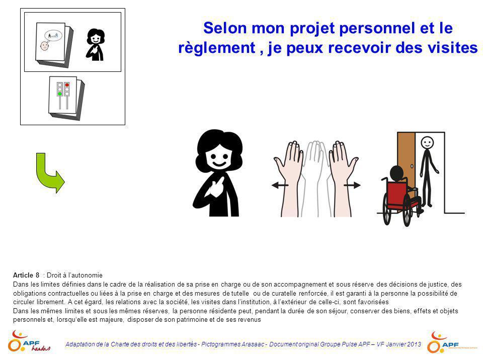 Adaptation de la Charte des droits et des libertés - Pictogrammes Arasaac - Document original Groupe Pulse APF – VF Janvier 2013 Selon mon projet pers