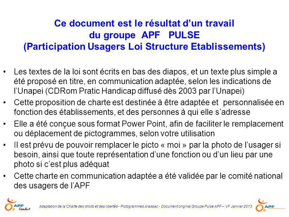 Adaptation de la Charte des droits et des libertés - Pictogrammes Arasaac - Document original Groupe Pulse APF – VF Janvier 2013 Ce document est le ré