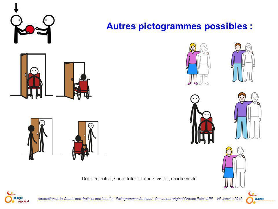 Adaptation de la Charte des droits et des libertés - Pictogrammes Arasaac - Document original Groupe Pulse APF – VF Janvier 2013 Autres pictogrammes p
