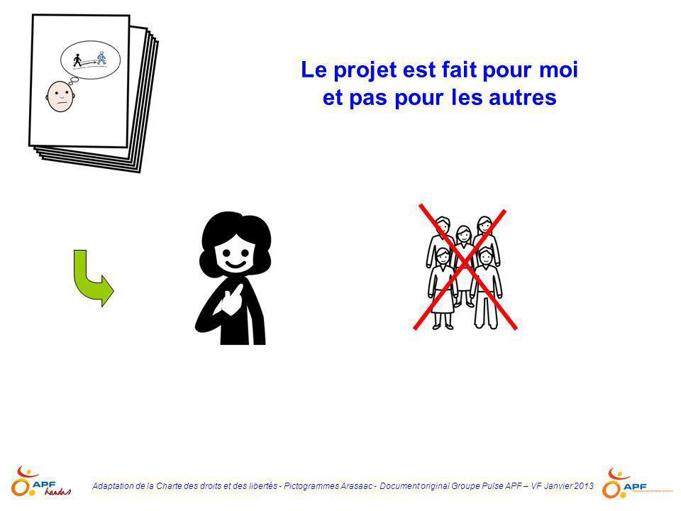 Adaptation de la Charte des droits et des libertés - Pictogrammes Arasaac - Document original Groupe Pulse APF – VF Janvier 2013 Le projet est fait po