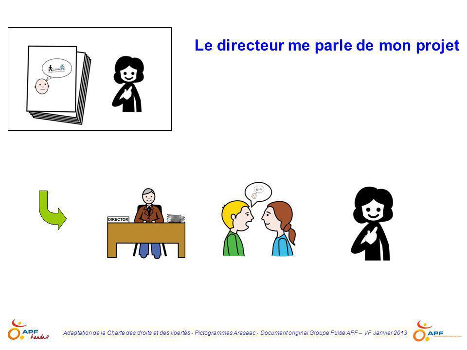 Adaptation de la Charte des droits et des libertés - Pictogrammes Arasaac - Document original Groupe Pulse APF – VF Janvier 2013 Le directeur et moi, nous parlons de mon projet