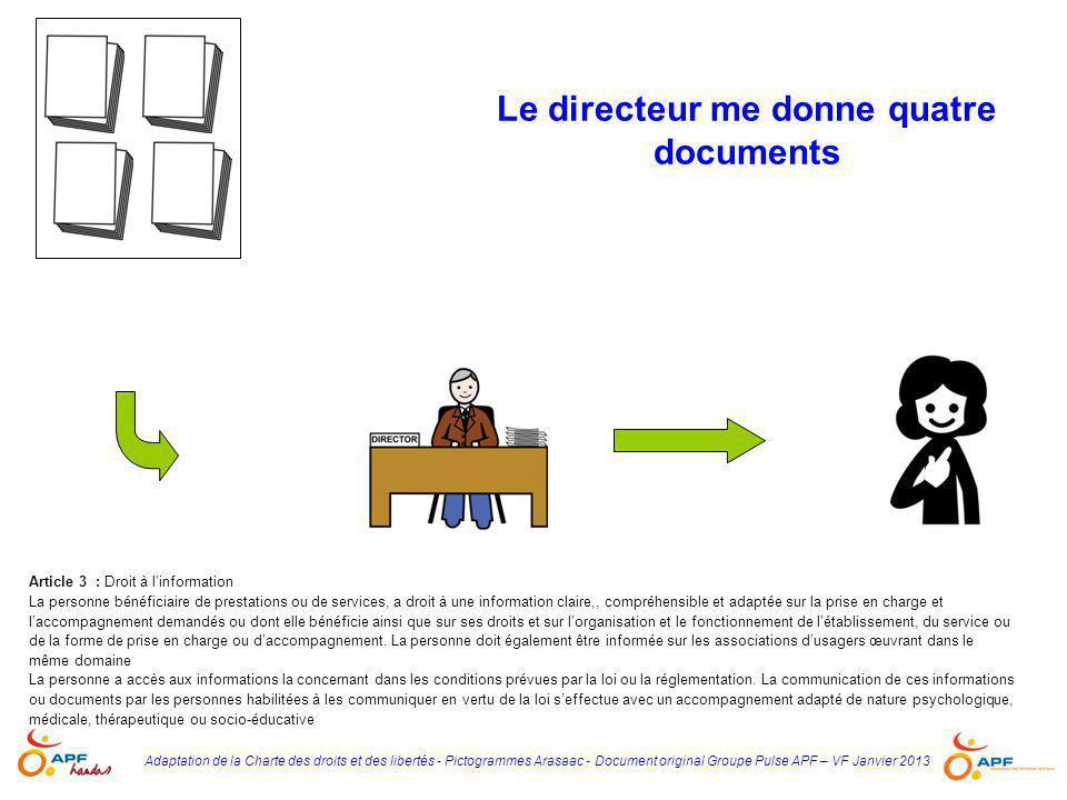 Adaptation de la Charte des droits et des libertés - Pictogrammes Arasaac - Document original Groupe Pulse APF – VF Janvier 2013 Le directeur me donne