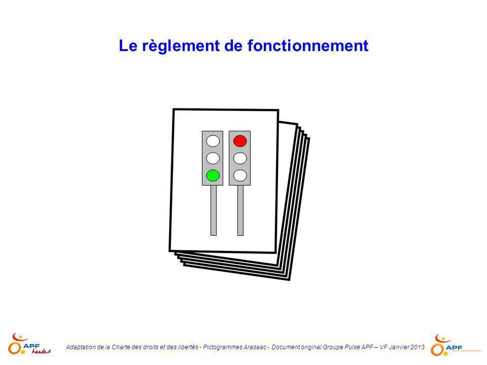 Adaptation de la Charte des droits et des libertés - Pictogrammes Arasaac - Document original Groupe Pulse APF – VF Janvier 2013 Le règlement de fonct