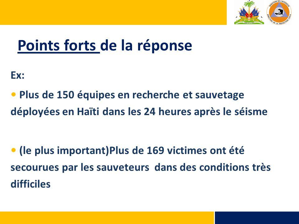 Points forts de la réponse Ex: Plus de 150 équipes en recherche et sauvetage déployées en Haïti dans les 24 heures après le séisme (le plus important)Plus de 169 victimes ont été secourues par les sauveteurs dans des conditions très difficiles