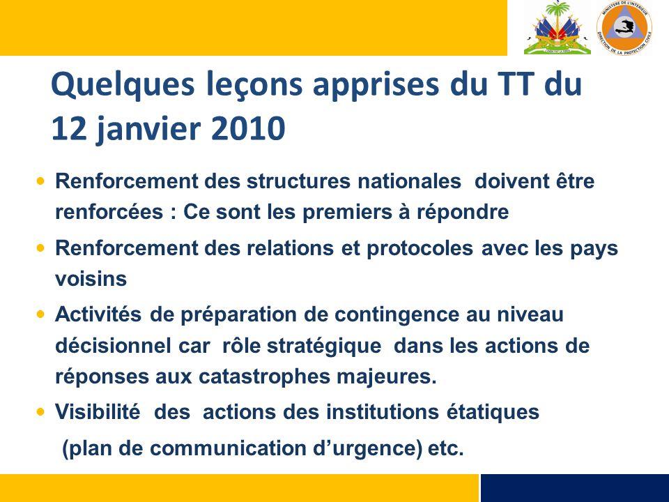 Quelques leçons apprises du TT du 12 janvier 2010 Renforcement des structures nationales doivent être renforcées : Ce sont les premiers à répondre Ren
