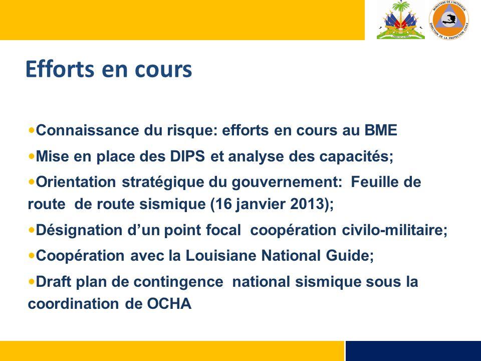 Connaissance du risque: efforts en cours au BME Mise en place des DIPS et analyse des capacités; Orientation stratégique du gouvernement: Feuille de r