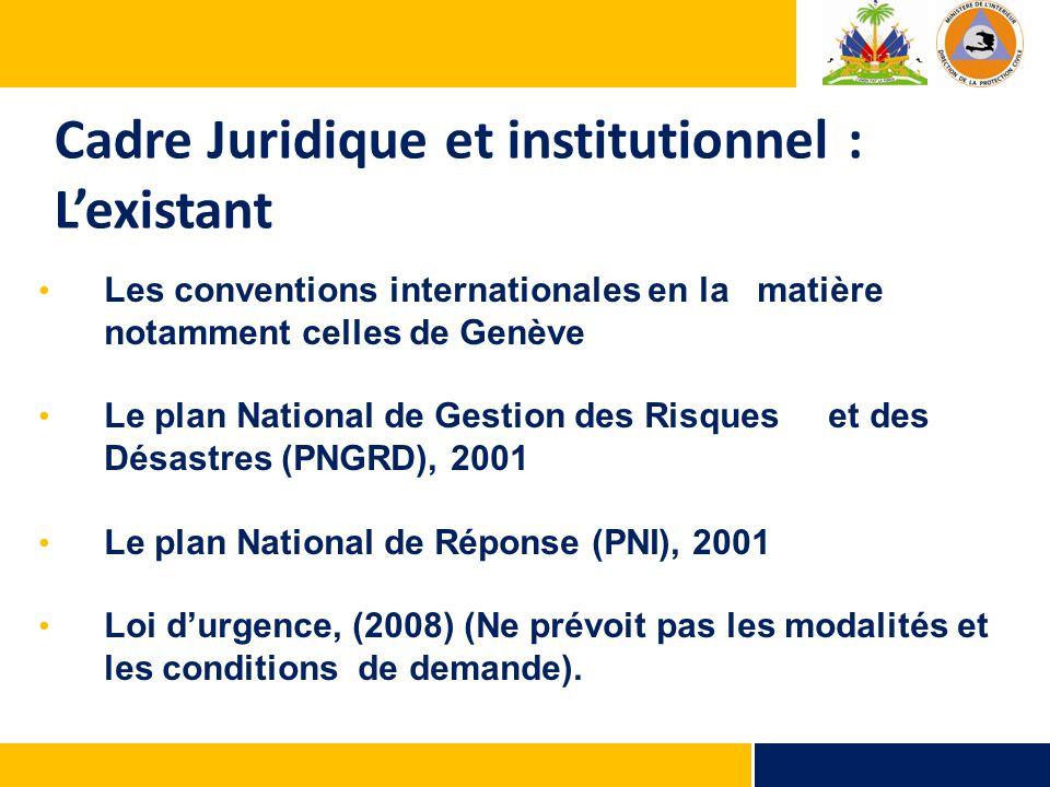 Cadre Juridique et institutionnel : L'existant Les conventions internationales en la matière notamment celles de Genève Le plan National de Gestion de