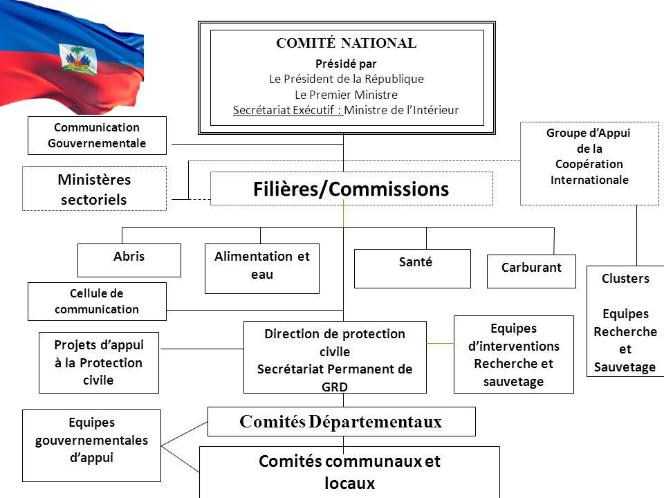 COMITÉ NATIONAL Présidé par Le Président de la République Le Premier Ministre Secrétariat Exécutif : Ministre de l'Intérieur Comités Départementaux Co