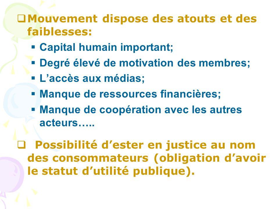  Mouvement dispose des atouts et des faiblesses:  Capital humain important;  Degré élevé de motivation des membres;  L'accès aux médias;  Manque