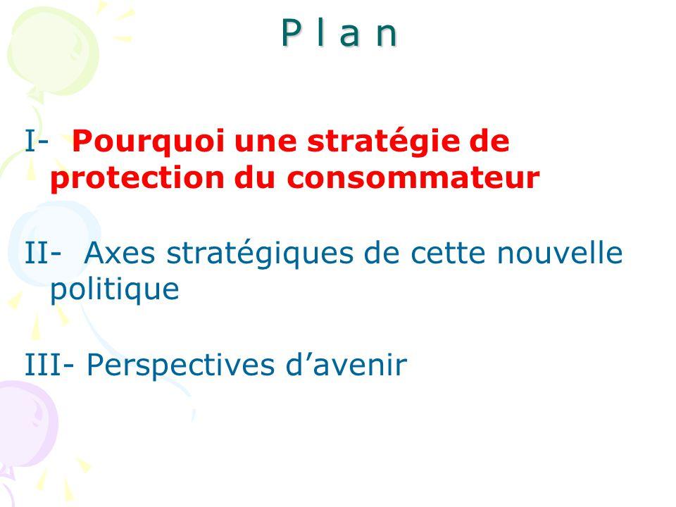 P l a n I- Pourquoi une stratégie de protection du consommateur II- Axes stratégiques de cette nouvelle politique III- Perspectives d'avenir