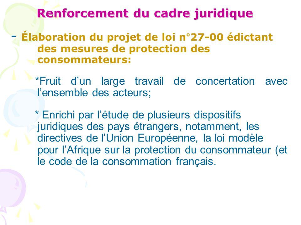 Renforcement du cadre juridique - Élaboration du projet de loi n°27-00 édictant des mesures de protection des consommateurs: *Fruit d'un large travail
