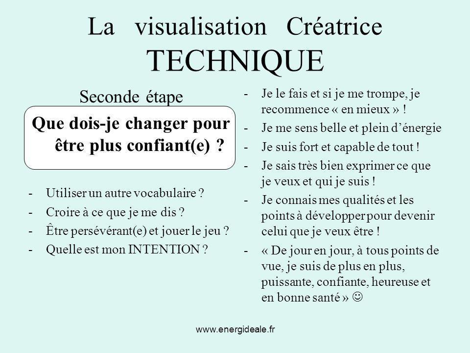 www.energideale.fr La visualisation Créatrice TECHNIQUE Seconde étape Que dois-je changer pour être plus confiant(e) ? -Utiliser un autre vocabulaire