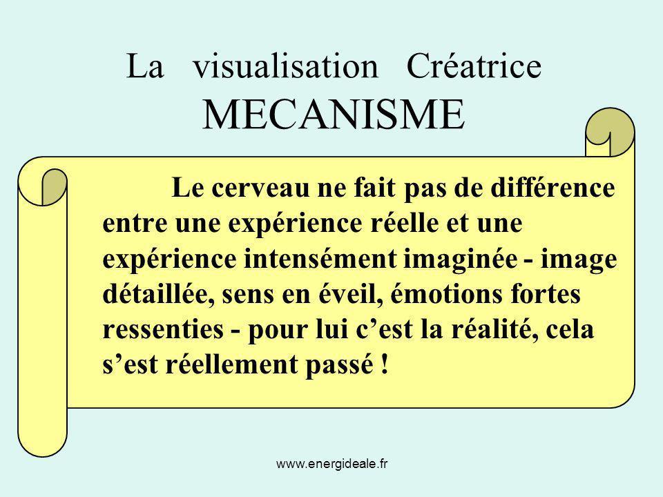 www.energideale.fr La visualisation Créatrice MECANISME Le cerveau ne fait pas de différence entre une expérience réelle et une expérience intensément