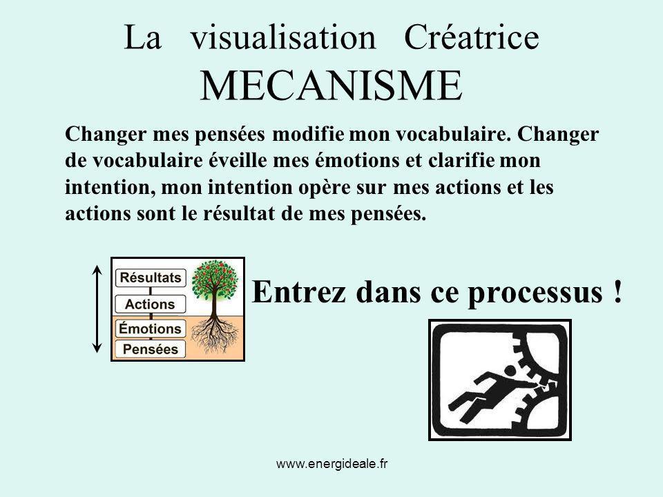 www.energideale.fr La visualisation Créatrice MECANISME Changer mes pensées modifie mon vocabulaire. Changer de vocabulaire éveille mes émotions et cl