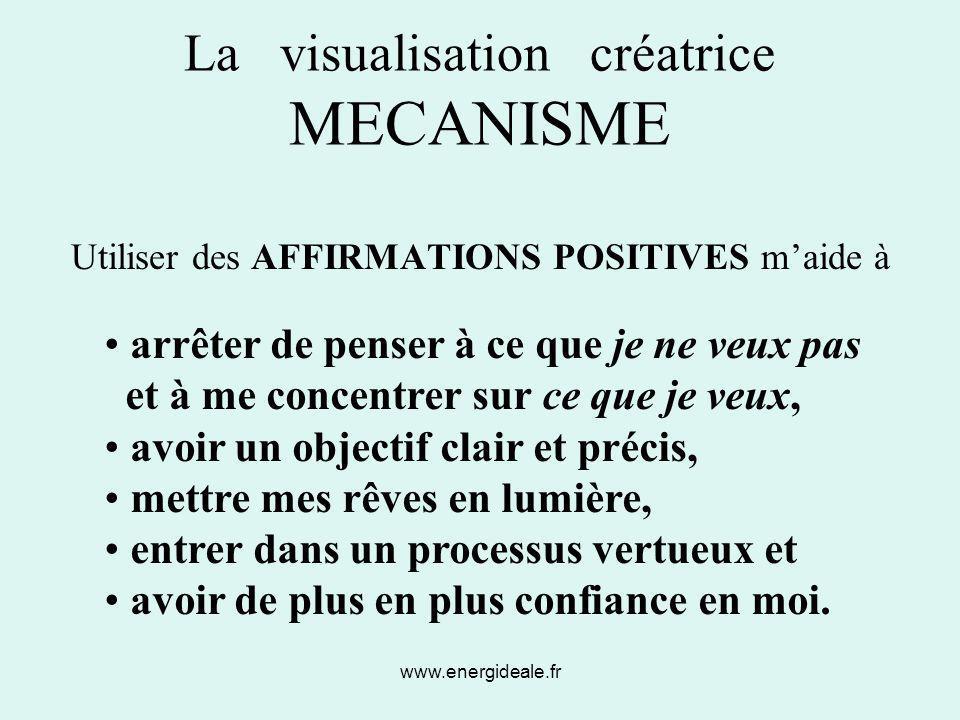www.energideale.fr La visualisation créatrice MECANISME Utiliser des AFFIRMATIONS POSITIVES m'aide à arrêter de penser à ce que je ne veux pas et à me