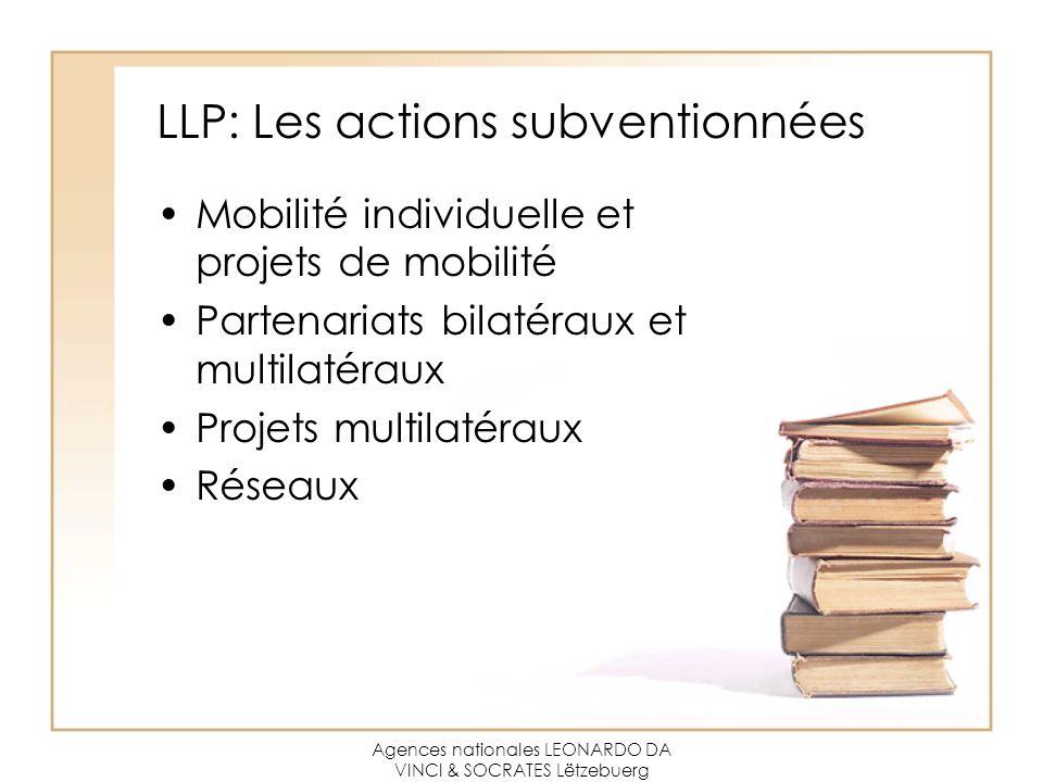 Agences nationales LEONARDO DA VINCI & SOCRATES Lëtzebuerg LLP: Les actions subventionnées Mobilité individuelle et projets de mobilité Partenariats bilatéraux et multilatéraux Projets multilatéraux Réseaux