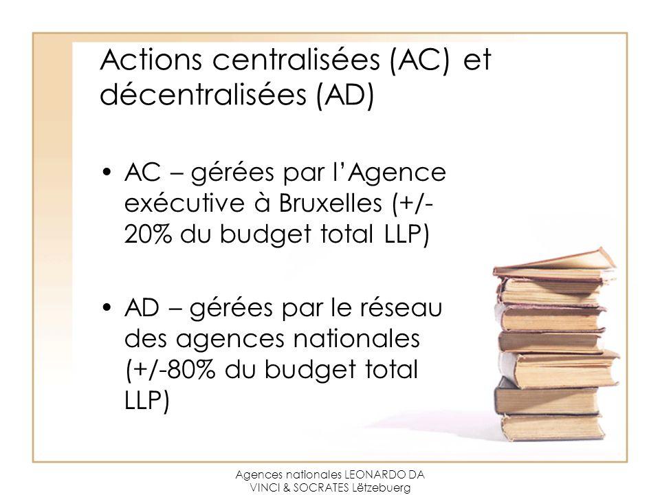Agences nationales LEONARDO DA VINCI & SOCRATES Lëtzebuerg Actions centralisées (AC) et décentralisées (AD) AC – gérées par l'Agence exécutive à Bruxelles (+/- 20% du budget total LLP) AD – gérées par le réseau des agences nationales (+/-80% du budget total LLP)