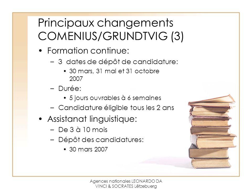 Agences nationales LEONARDO DA VINCI & SOCRATES Lëtzebuerg Principaux changements COMENIUS/GRUNDTVIG (3) Formation continue: –3 dates de dépôt de cand
