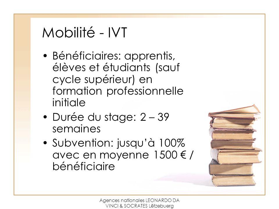 Agences nationales LEONARDO DA VINCI & SOCRATES Lëtzebuerg Mobilité - IVT Bénéficiaires: apprentis, élèves et étudiants (sauf cycle supérieur) en form