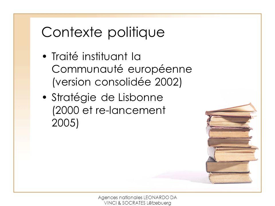 Agences nationales LEONARDO DA VINCI & SOCRATES Lëtzebuerg Contexte politique Traité instituant la Communauté européenne (version consolidée 2002) Stratégie de Lisbonne (2000 et re-lancement 2005)