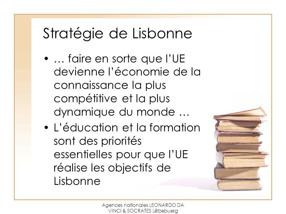 Agences nationales LEONARDO DA VINCI & SOCRATES Lëtzebuerg Stratégie de Lisbonne … faire en sorte que l'UE devienne l'économie de la connaissance la plus compétitive et la plus dynamique du monde … L'éducation et la formation sont des priorités essentielles pour que l'UE réalise les objectifs de Lisbonne