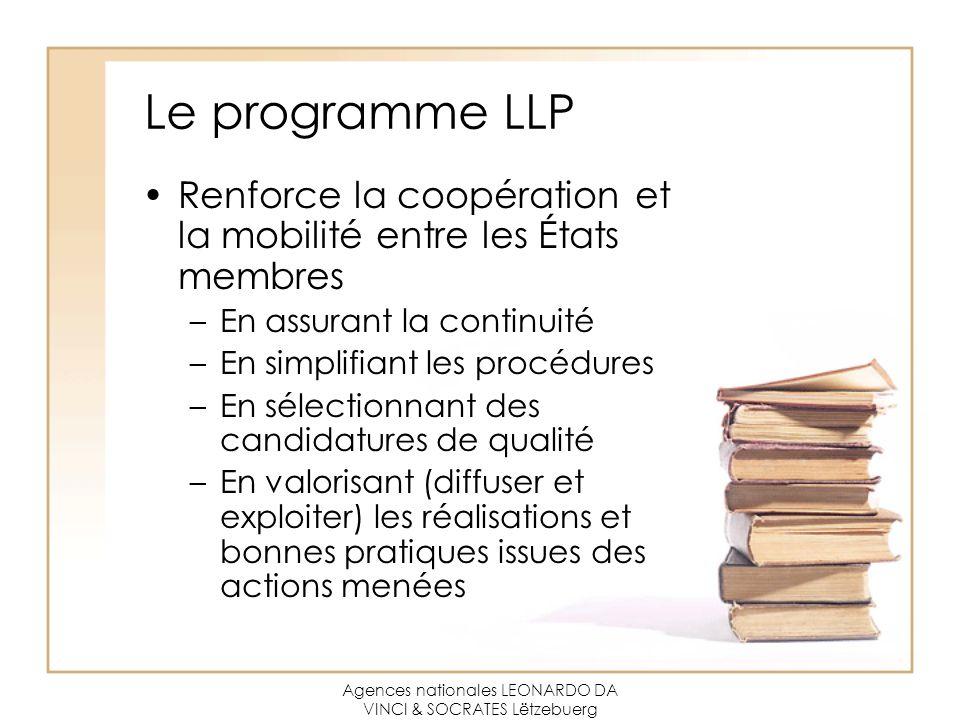 Agences nationales LEONARDO DA VINCI & SOCRATES Lëtzebuerg Le programme LLP Renforce la coopération et la mobilité entre les États membres –En assuran