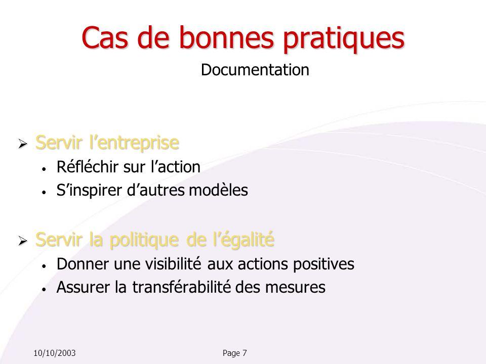 Page 710/10/2003 Documentation  Servir l'entreprise Réfléchir sur l'action S'inspirer d'autres modèles  Servir la politique de l'égalité Donner une visibilité aux actions positives Assurer la transférabilité des mesures Cas de bonnes pratiques